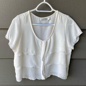 MINKPINK Cream Cropped Blouse